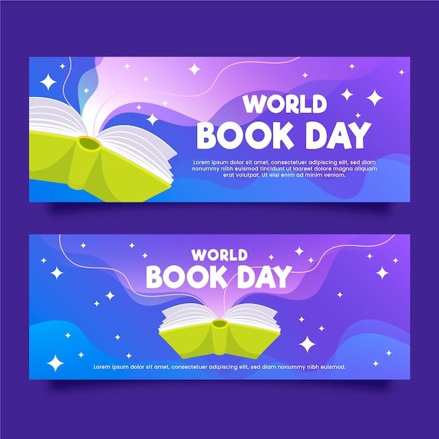 Плоский мир книжный день баннеры Бесплатные векторы