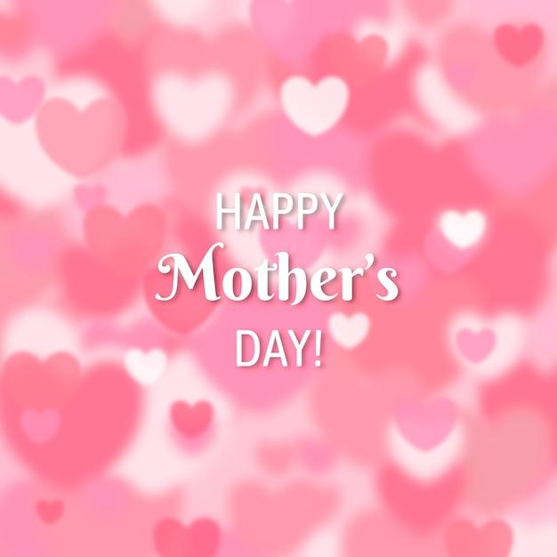 Счастливый день матери размыты сердца Бесплатные векторы