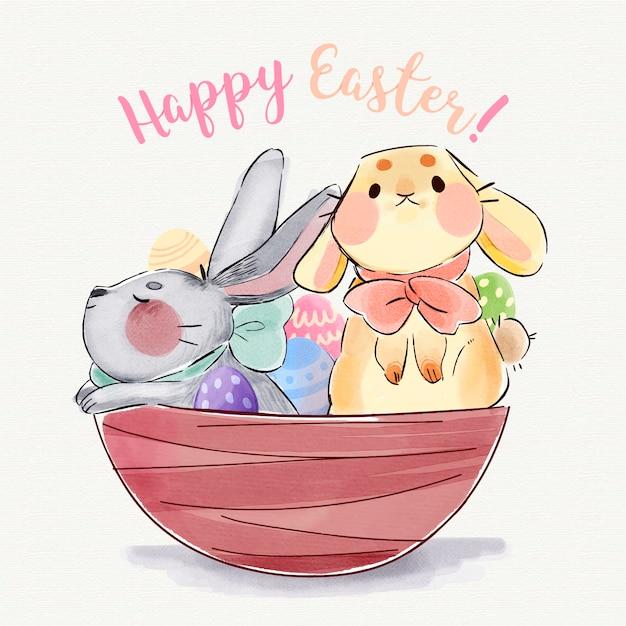 Акварельные иллюстрации милые пасхальные кролики Бесплатные векторы