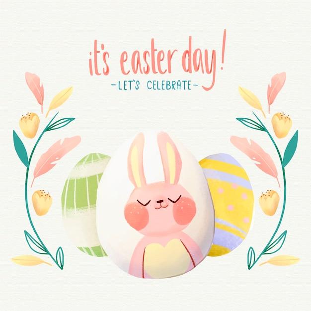 かわいいイースターのウサギの水彩イラスト 無料ベクター