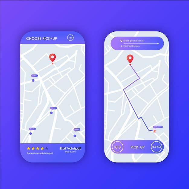 Набор интерфейса приложения такси на смартфоне Бесплатные векторы