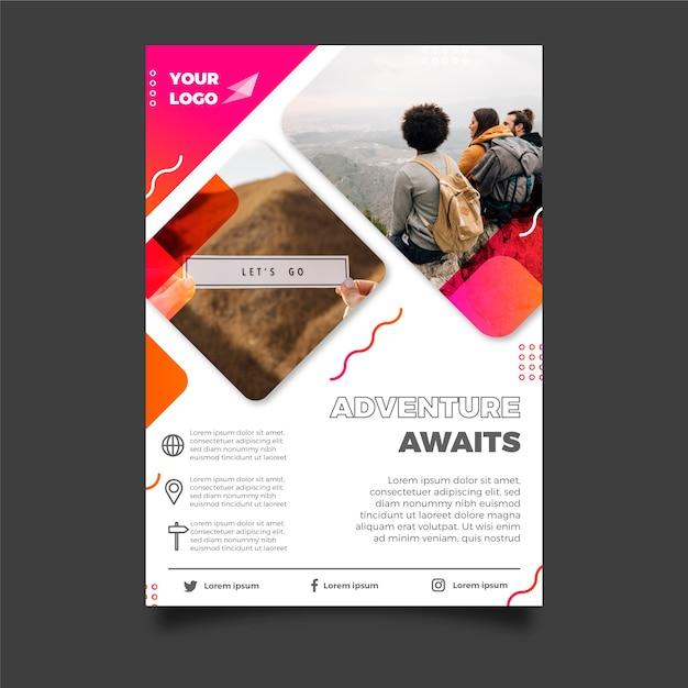 人々の写真と旅行ポスターデザイン 無料ベクター