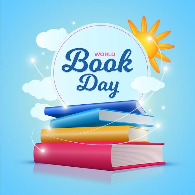 Реалистичная тема книжного дня Бесплатные векторы
