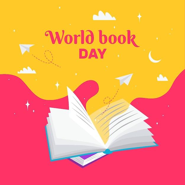 フラットなデザインの世界の本の日 無料ベクター