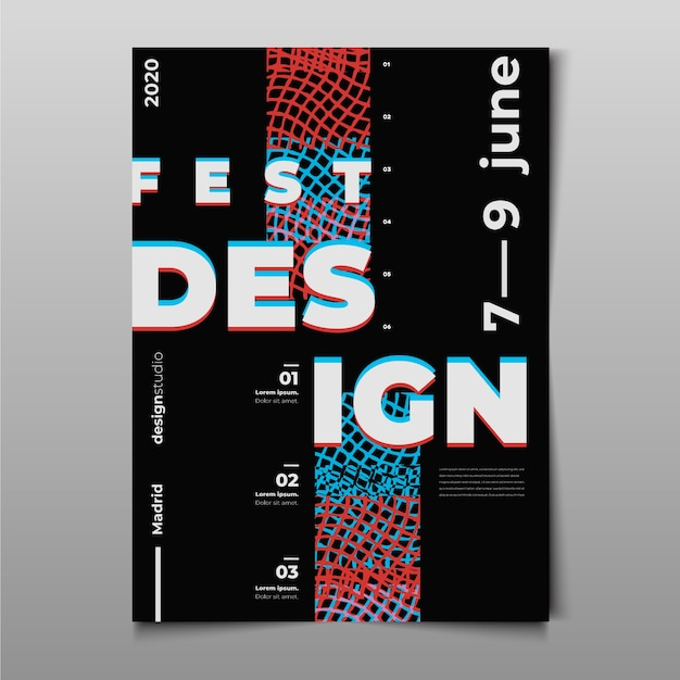 Фестиваль сорвал дизайн плаката шаблона Бесплатные векторы