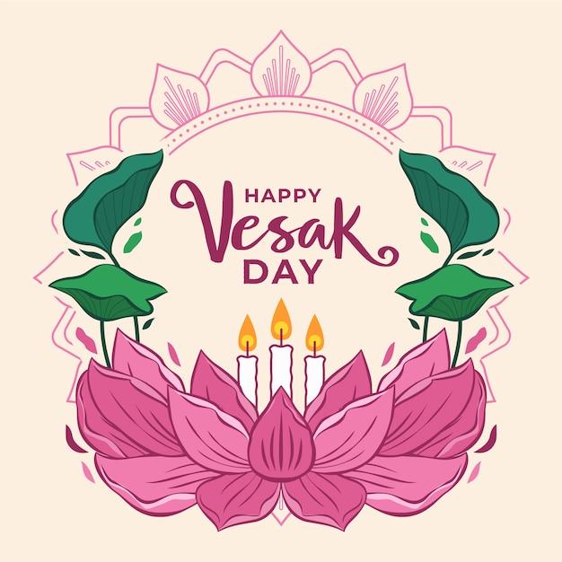Счастливый день весак с цветком лотоса и свечами Бесплатные векторы