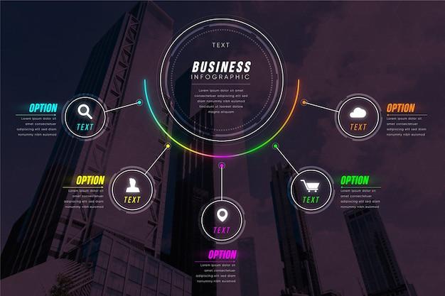写真とビジネスのインフォグラフィック 無料ベクター