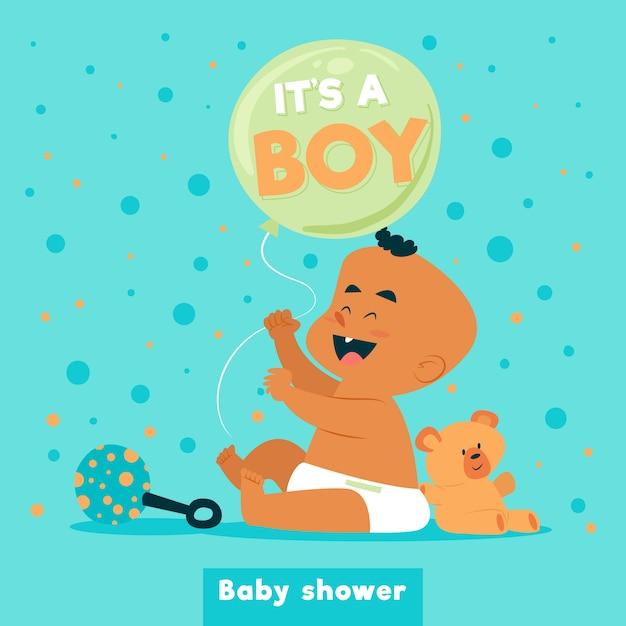 かわいい赤ちゃんを持つ男の子のためのベビーシャワー 無料ベクター
