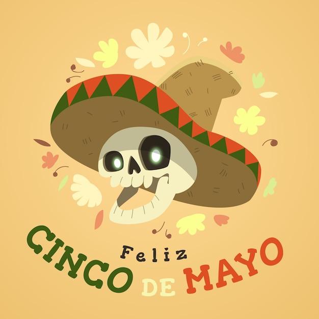Синко де майо в шляпе с черепом Бесплатные векторы