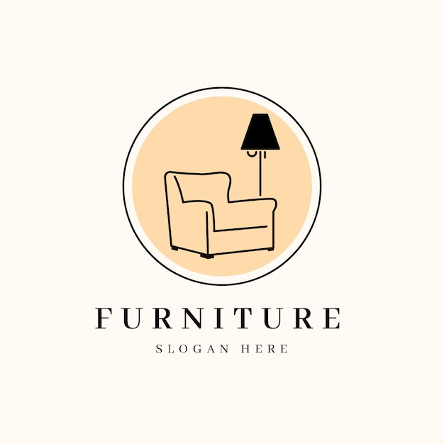 最小限の家具ロゴ 無料ベクター
