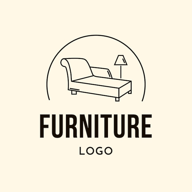 ランプ付きのシンプルな家具ロゴ 無料ベクター