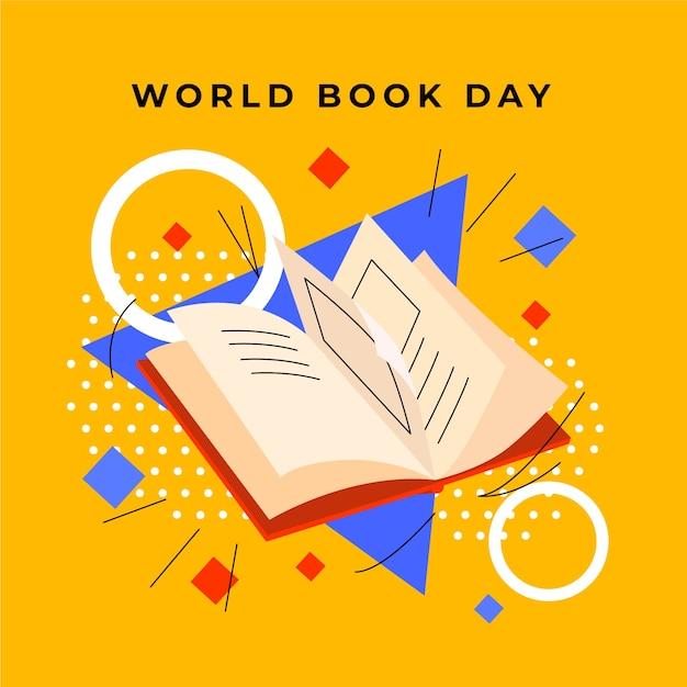 Всемирный день книги с книгой и геометрическими фигурами Бесплатные векторы