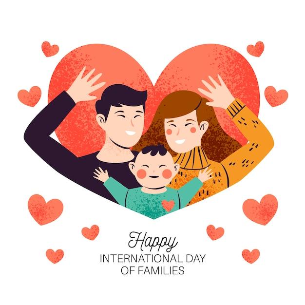 Международный день семей с родителями и ребенком Бесплатные векторы
