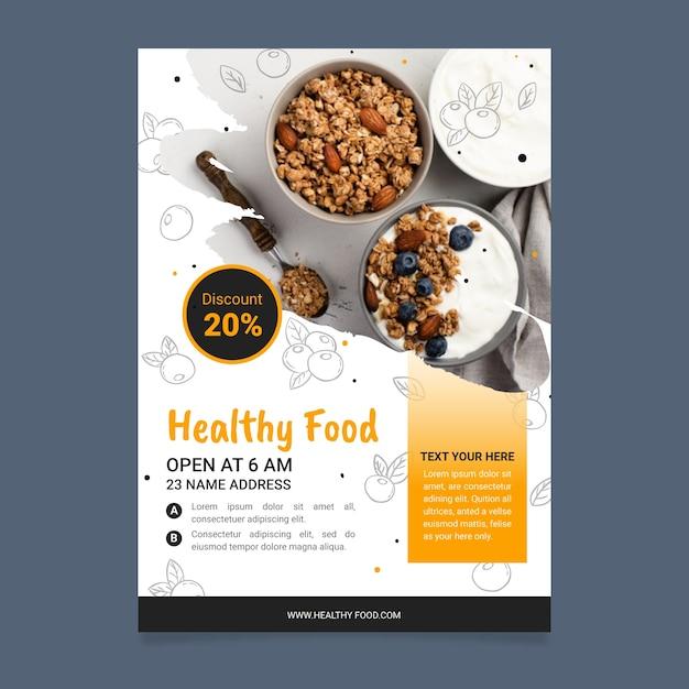 健康食品レストランチラシテンプレート 無料ベクター