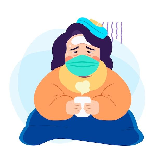 風邪の図の概念を持つ人 無料ベクター