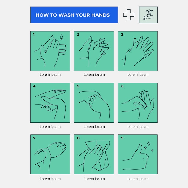 Руки намыливаем и ополаскиваем ступени инфографики Бесплатные векторы