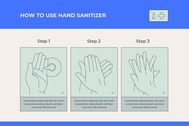 Как использовать дезинфицирующее средство для рук инфографики Бесплатные векторы