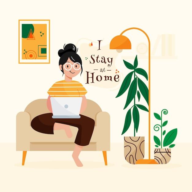Оставайся дома концепция Бесплатные векторы