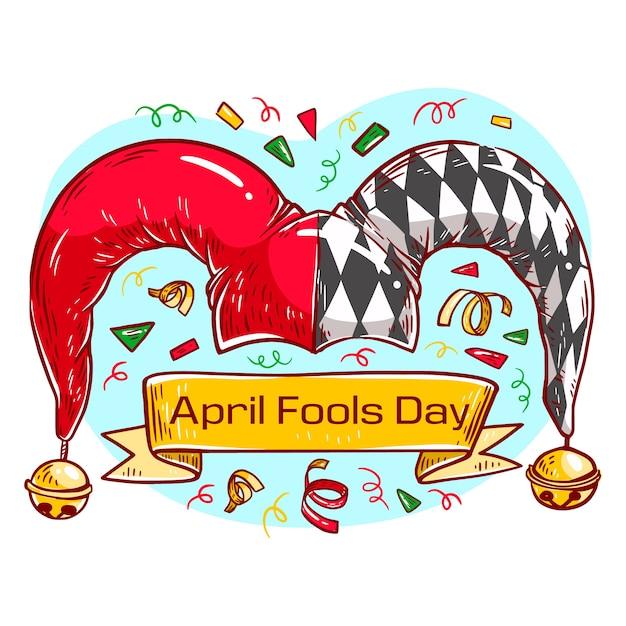 Ручной обращается апрель дураков день концепция Бесплатные векторы