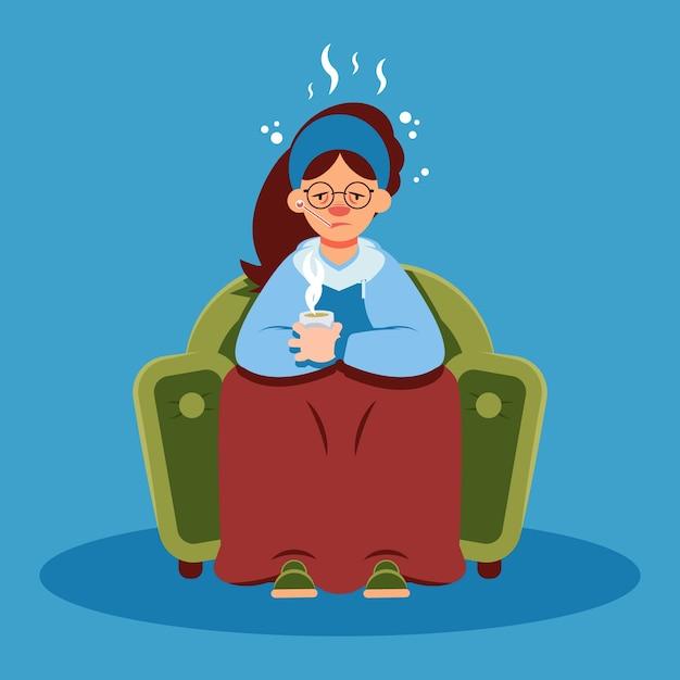 Женщина с простудой в карантине дома Бесплатные векторы