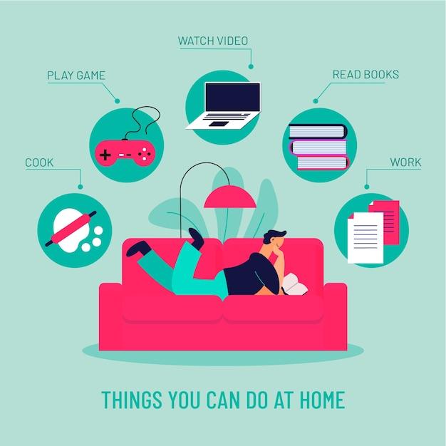 Инфографика, чем можно заняться дома Бесплатные векторы