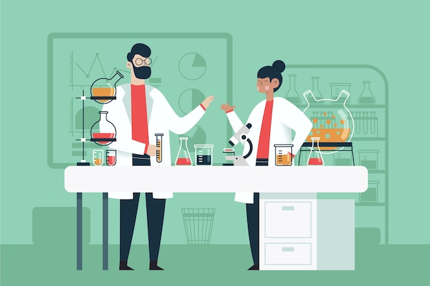 Люди, работающие в научной лаборатории Бесплатные векторы
