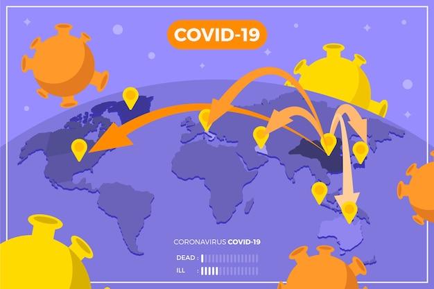 Коронавирусная карта распространения вируса по всему миру Бесплатные векторы