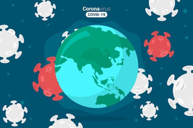 Пандемические коронавирусные бактерии и земля Бесплатные векторы