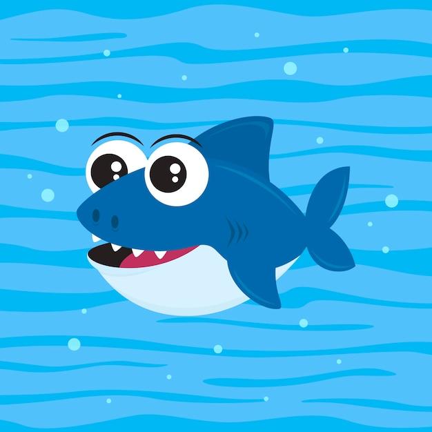 Маленькая акула в мультяшном стиле Бесплатные векторы