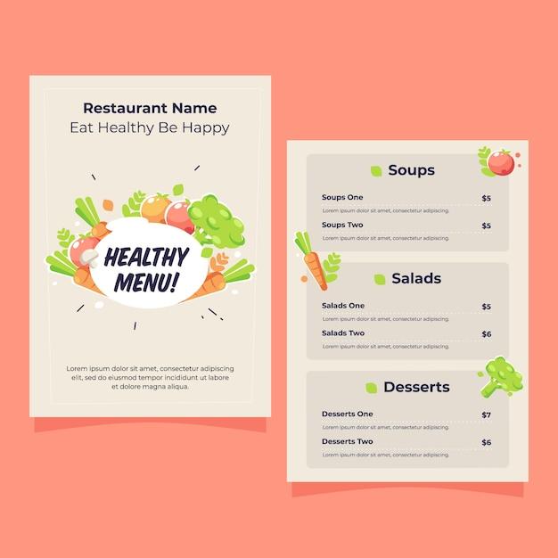 Подробный шаблон меню ресторана здоровой пищи с иллюстрацией Бесплатные векторы