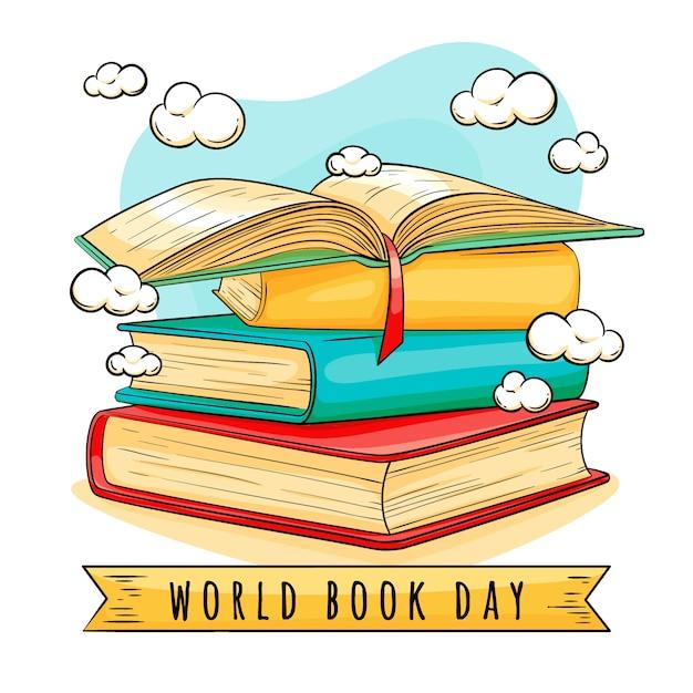Нарисованная рукой концепция дня книжного мира Бесплатные векторы