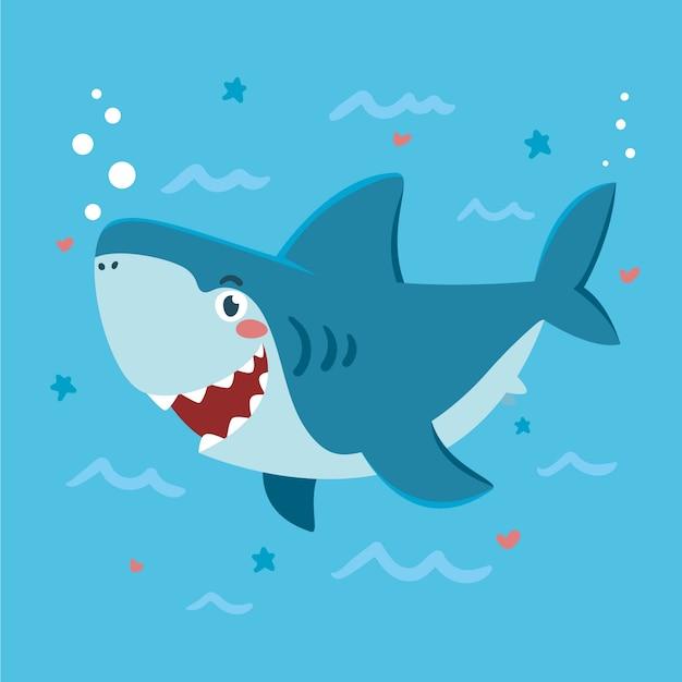 漫画のスタイルでフラットなデザインの赤ちゃんサメ 無料ベクター