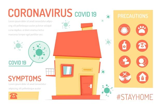 Креативное пребывание дома инфографики с некоторыми делами Бесплатные векторы