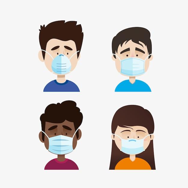 医療マスクを着ている人 無料ベクター
