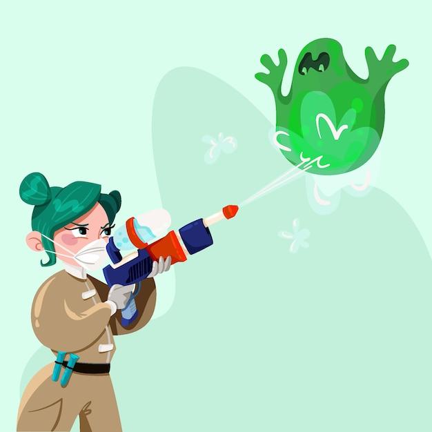 緑のウイルスと戦うイラスト女性 無料ベクター