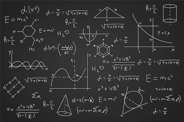 Нарисованные научные формулы на доске Бесплатные векторы