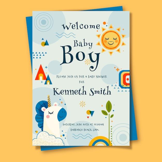 Открытка на рождение ребенка для мальчика Бесплатные векторы