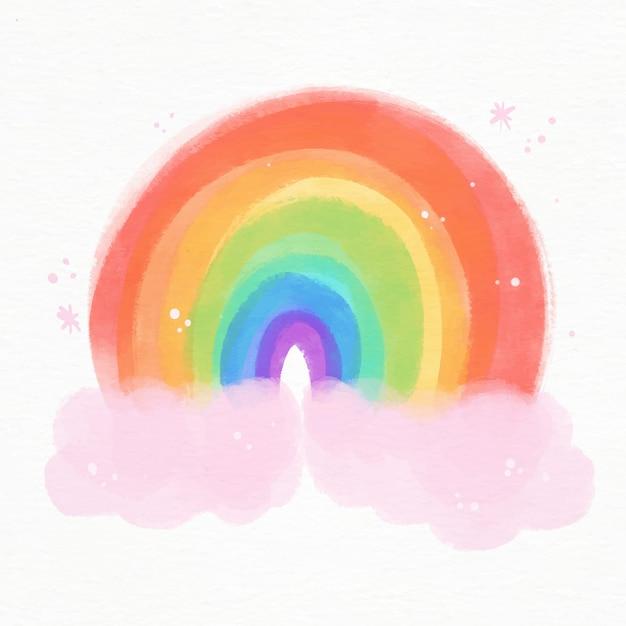 Иллюстрированная яркая акварельная радуга Бесплатные векторы