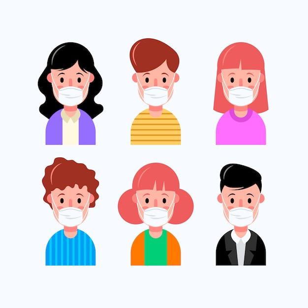 Люди, носящие медицинские маски аватары Бесплатные векторы