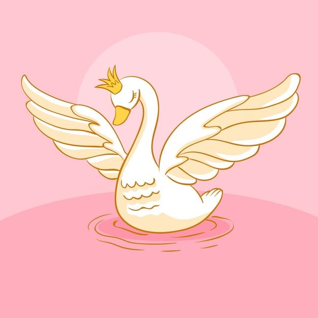 Лебедь принцессы иллюстрированный дизайн Бесплатные векторы