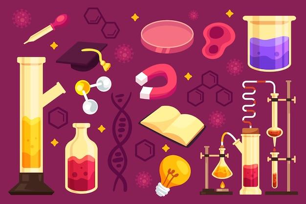 手描きのカラフルな科学教育の背景 無料ベクター