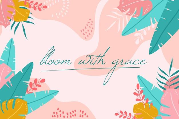 Цветочный фон с положительными цитатами Бесплатные векторы
