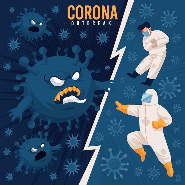 コロナウイルスの戦いの概念 無料ベクター