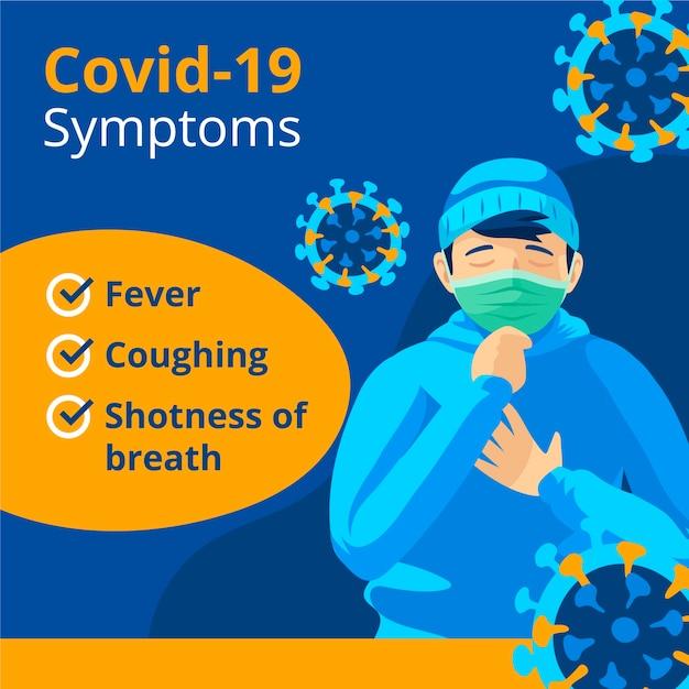 コロナウイルス症状イラスト 無料ベクター