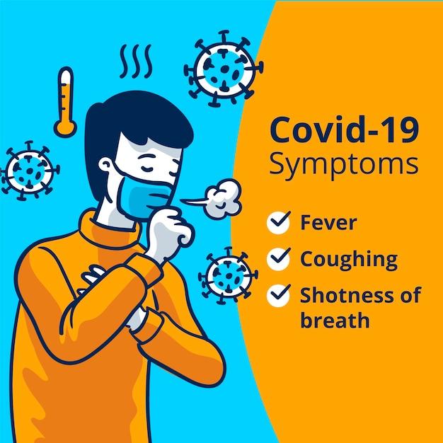 Иллюстрация симптомов коронавируса Бесплатные векторы