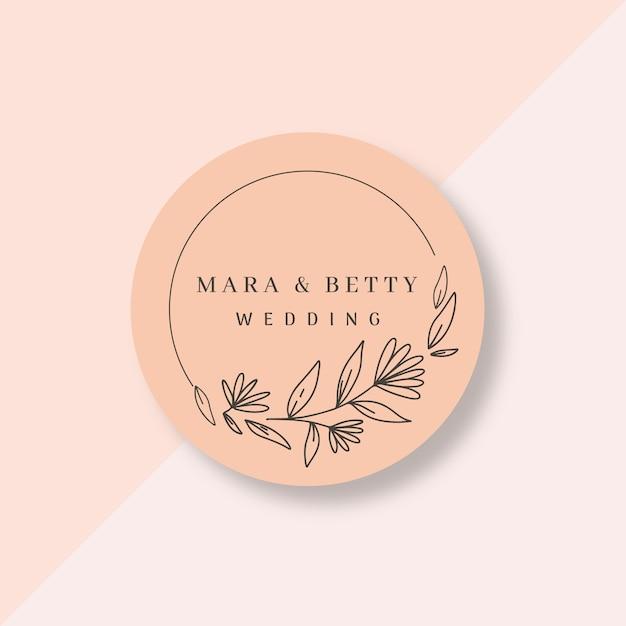 フラットなデザインの美しい結婚式のロゴ 無料ベクター