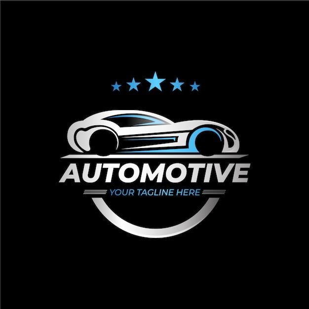 リアルなメタリックカーのロゴ 無料ベクター