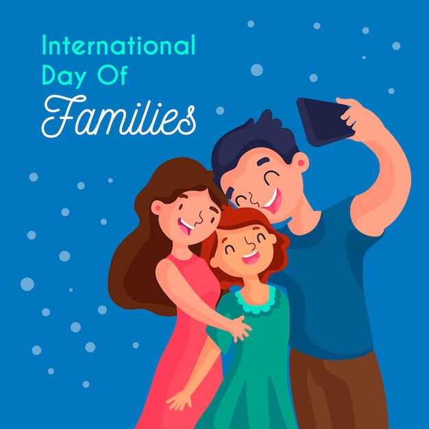 Плоский международный день семей Бесплатные векторы