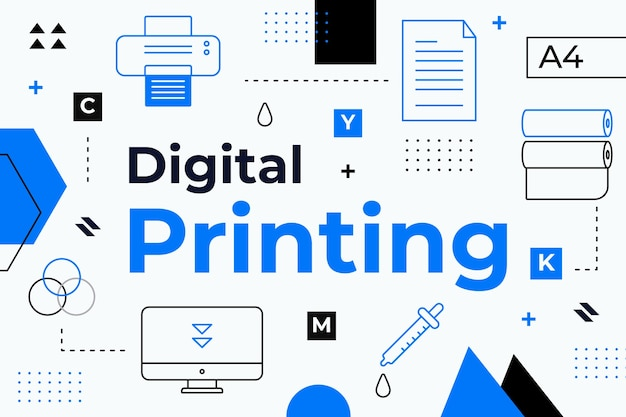 Концепция цифровой печати Бесплатные векторы