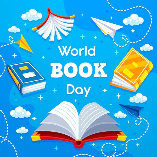 Плоский мир книжного дня концепция Бесплатные векторы